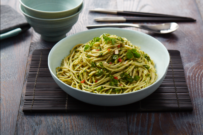 """**[Coriander and peanuts with ramen](https://hakubaku.com.au/recipe/coriander-and-peanuts-with-ramen/