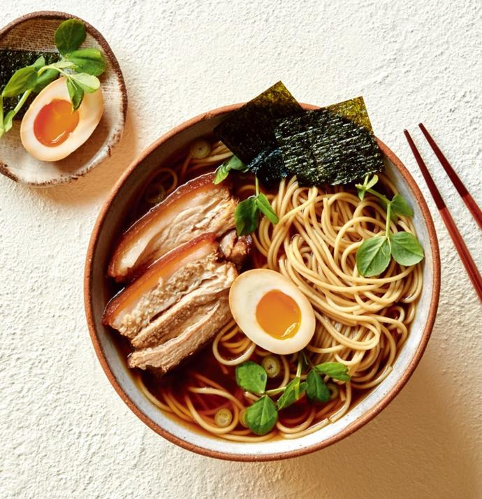 """**[Shoyu ramen and egg soup](https://hakubaku.com.au/recipe/shoyu-ramen-egg-soup/