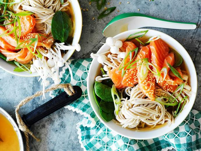 """**[Miso broth with salmon and soba](https://www.womensweeklyfood.com.au/recipes/miso-broth-with-salmon-and-soba-8138
