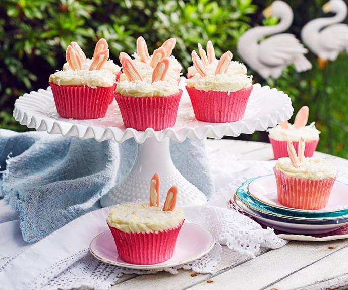 "[White chocolate Easter bunny cupcakes](https://www.womensweeklyfood.com.au/recipes/easter-bunny-cupcakes-recipe-19949|target=""_blank""