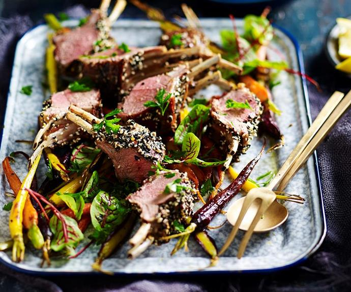 """**[Spice crusted lamb racks and roasted carrots](https://www.womensweeklyfood.com.au/recipes/spice-crusted-lamb-racks-and-roasted-carrots-29556