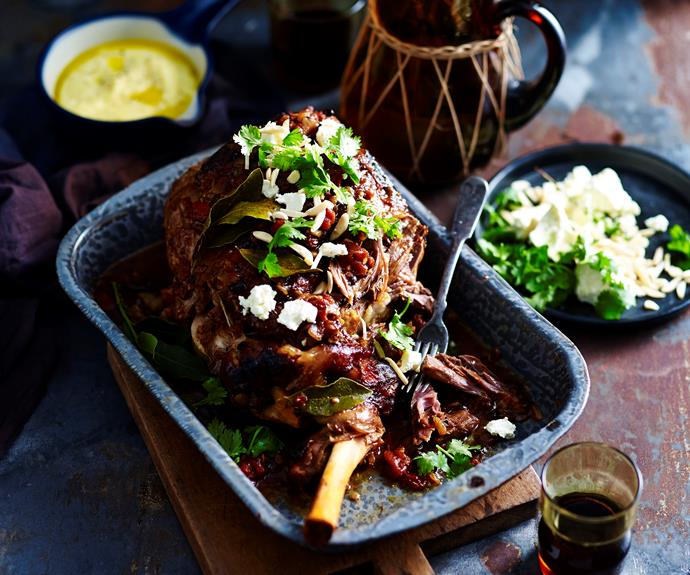"""**[Slow-roasted lamb leg with fetta and almonds](http://www.womensweeklyfood.com.au/recipes/slow-roasted-lamb-leg-with-soft-polenta-3246