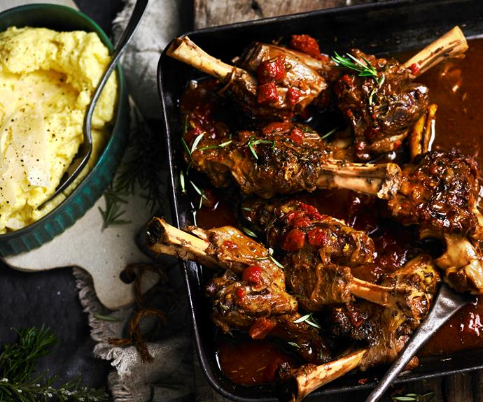 """**[Tomato-braised lamb shanks with creamy polenta](https://www.womensweeklyfood.com.au/recipes/tomato-braised-lamb-shanks-with-creamy-polenta-13027