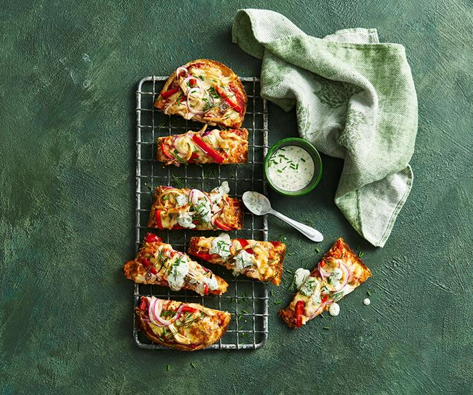"""**[Buffalo chicken pizzas](https://www.helgas.com.au/recipes/buffalo-chicken-pizzas