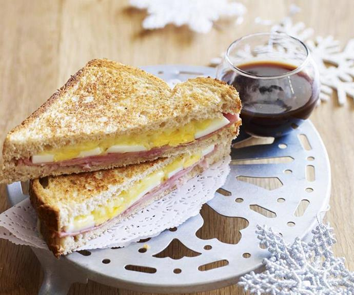 """**[Ham, egg and cheese toasties](https://www.womensweeklyfood.com.au/recipes/ham-egg-and-cheese-toasties-10264