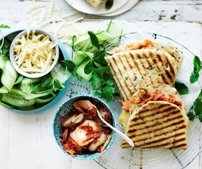 """These [cheese and kimchi toasties](https://www.womensweeklyfood.com.au/recipes/kimchi-cheese-toastie-32511