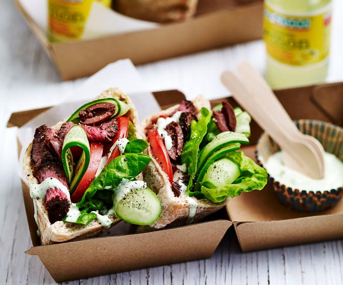 """**[Greek salad lamb pitta pockets](https://www.womensweeklyfood.com.au/recipes/greek-salad-lamb-pitta-pockets-32723 target=""""_blank"""")**  Healthy lunch pockets filled with tender lamb, fresh tomato and cucumber and a tasty whipped fetta spread. Perfect for your lunchbox or picnic."""
