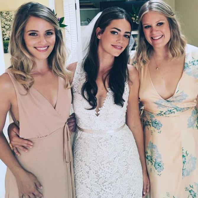 **Dianna Argon** <br><br> The *Glee* alum always looks effortlessly chic, however, her floor-length oatmeal dress from Reformation, was the perfect look while being a bridesmaid to her friend, Megan.