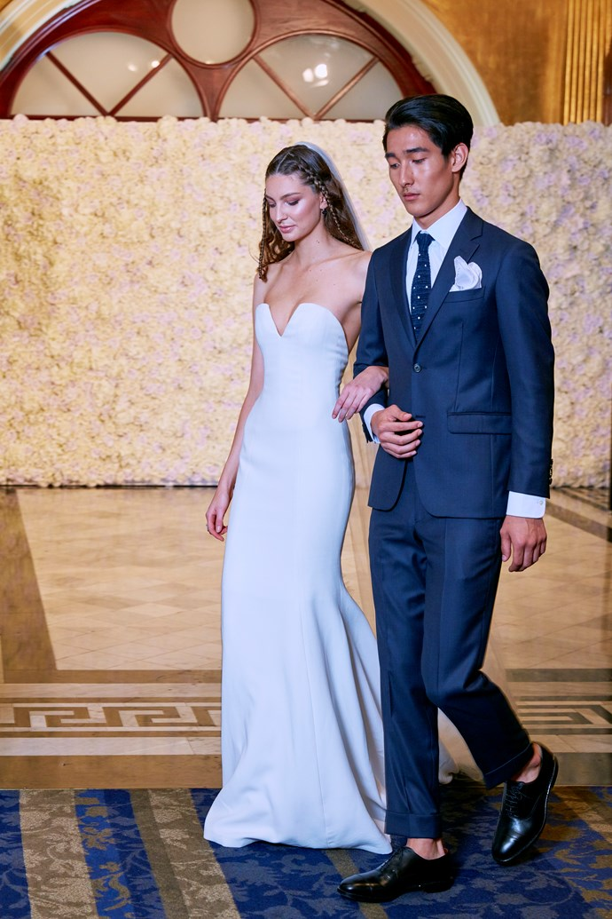 **The Sensualist Bride** You want a gown that drapes over your body and is seductive. Sofia Vergara is a perfect example of what this bride aspires to be. The Jocelyn gown is made for this bride with its dramatic neckline and figure hugging shape.