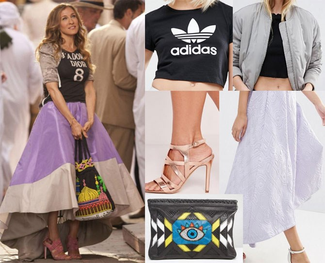 "Jadore really is the only word to describe Carrie's edgy Dior sitch. Swap out the hella expensive top for a trendy [Adidas tee](http://rstyle.me/n/bzvgm5vs36|target_""blank""), team with a [lilac jacquard skirt](http://rstyle.me/n/bzvmmzvs36