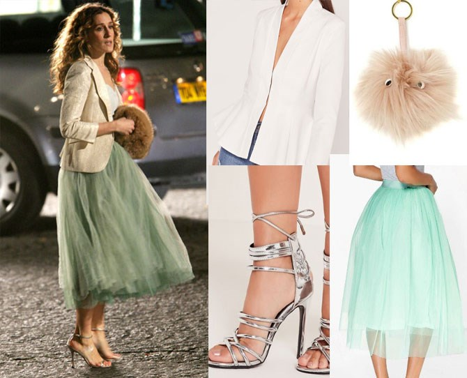 "Some styles never go out of fashion, case in point: Carrie's mint tulle evening getup. Team your own [TDF mint skirt](http://rstyle.me/n/bzu822vs36 |target=""_blank"") with a [cropped white, peplum hem blazer](http://rstyle.me/n/bzu9a5vs36