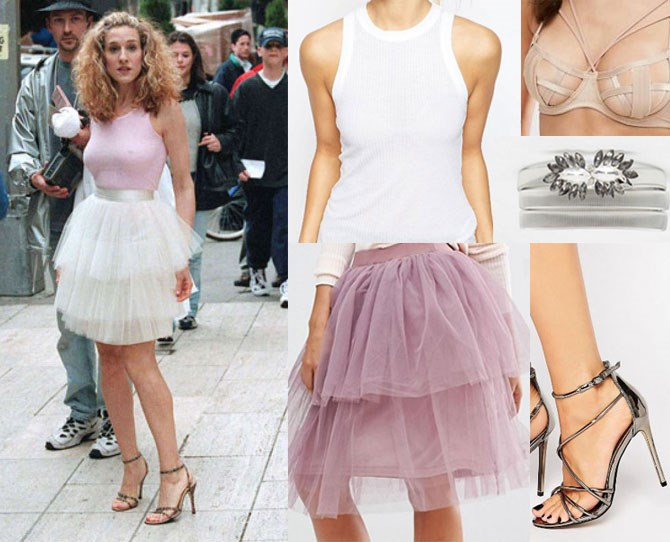"What better place to start with recreating Carrie's hottest looks than her famous ivory tutu? Give this look a modern twist by switching the colours around, with a [dusty pink tiered skirt](http://rstyle.me/n/bzu8uzvs36 target|""blank""), [classic white singlet](http://rstyle.me/n/bzvjzwvs36