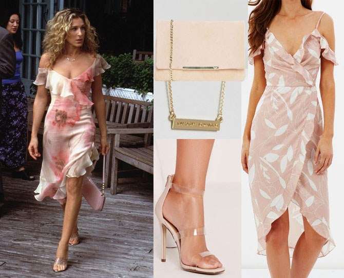 "Off-the-shoulder frills are back and we're totally here for it. Swap Carrie's Richard Tyler number for a modern (and more affordable) [peony piece](http://www.theiconic.com.au/peony-cold-shoulder-ruffle-wrap-dress-415698.html?wt_se=au.sem_nonbrand.google.pla.adgroup.ad&wt_se=sem_nonbrand.google.Brands.AU_Shopping_ICONIC_RLSA-_-sbra_au-shp_all_products%20-%20ICONIC_RLSA.&kpid=AT049AA01QYK&utm_source=Google&utm_medium=sem_nonbrand&utm_content=sbra_au-shp_all_products---ICONIC_RLSA&utm_campaign=AU_Shopping_ICONIC_RLSA&utm_term=&gclid=CMKbpJ2m8dQCFZKSvQodgxYJIg|target""_blank""), [invisible perspex heels](http://rstyle.me/n/bzvpmrvs36
