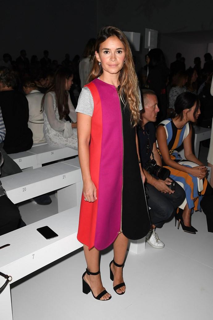 Miroslava Duma was frekkin' RADIANT in the Salvatore Ferragamo FROW wearing this flared colour-pop dress.