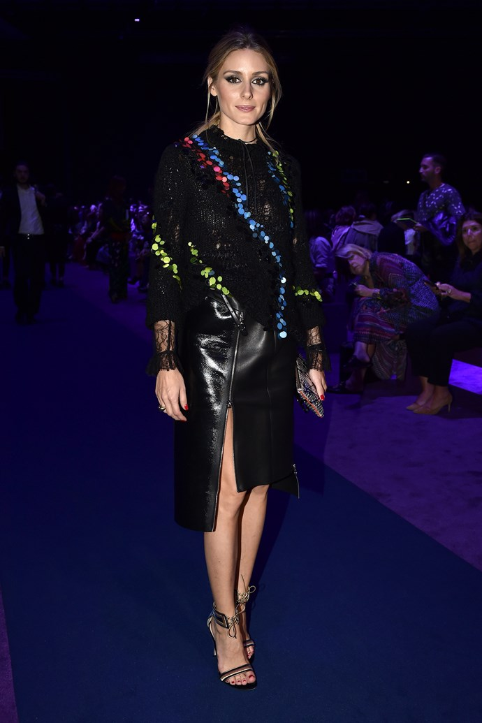Olivia Palermo rocks an uber-edgy black and sequin ensemble at Versace.