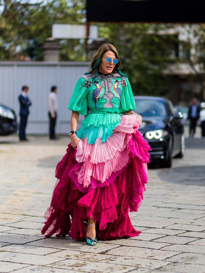 Anna Dello Russo was feeling as extravagant as ever.