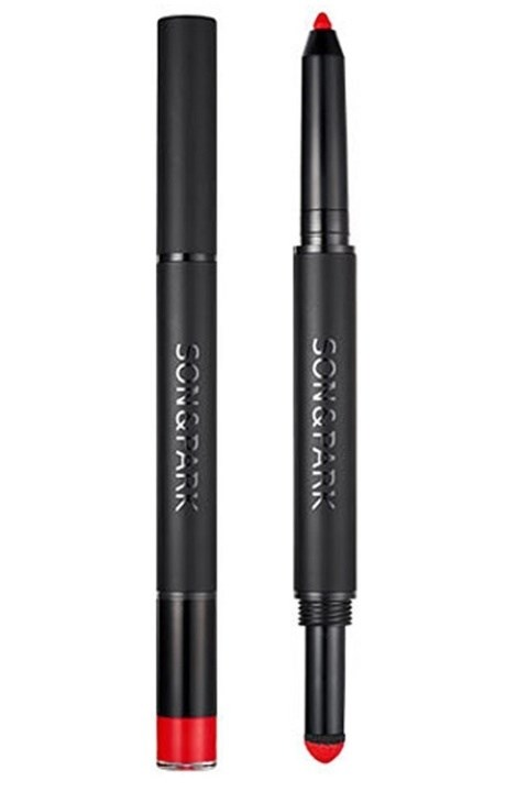 **6. SON & PARK TWO WAY LIP CHALK LIP LINER**  This dual lip color is the latest pout product that's causing a stir in Korea. One side is a moisturizing lip liner and the other is a dry matte lip chalk that you use to fill in your lips! Son & Park Two Way Lip Chalk Lip Liner, $30  [Buy it Here](https://sokoglam.com/products/son-park-two-way-lip-chalk)