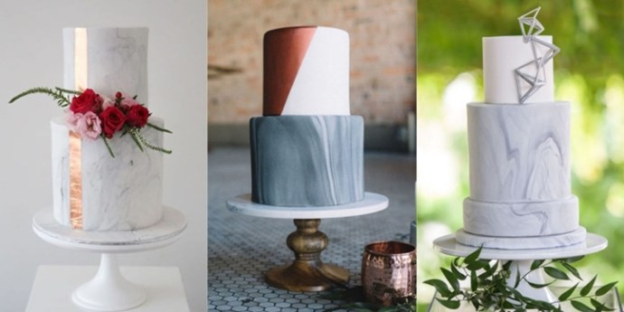As classically amazing as it's always been in interiors, marble home decor started to appear everywhere. But who knew you could make marble edible? Here, 15 beautiful examples of how bakers marbleized fondant to add a stone-like effect to the outside of wedding cakes (although two marbleized flavors baked inside would be a sweet surprise).