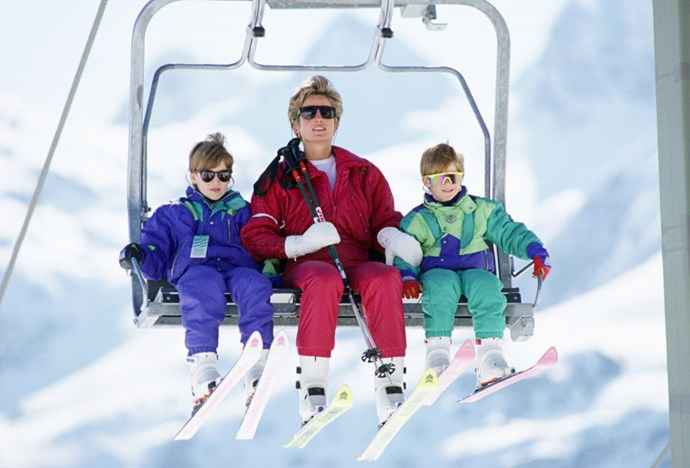 **Prince William, Harry and Princess Diana, 1991** The royals in retro skiwear? Yes, yes, yes!
