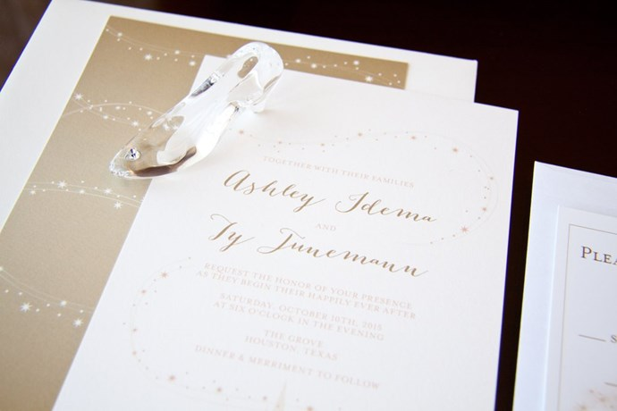 The wedding invitations were designed to resemble that of a Ball, decorated with enough sparkle to make even a fairy godmother proud. Bonus points for finding a tinsy glass slipper to finish it off.