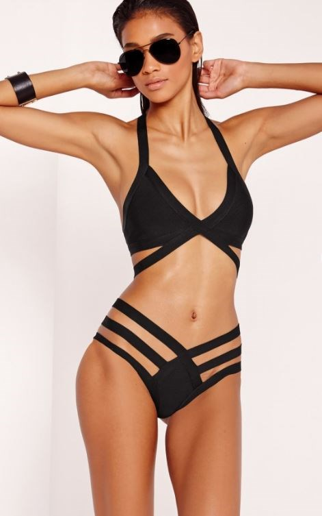 """Missguided Strappy Bandage Plunge Bikini [$58.80](http://rstyle.me/n/b3b9hrvs36