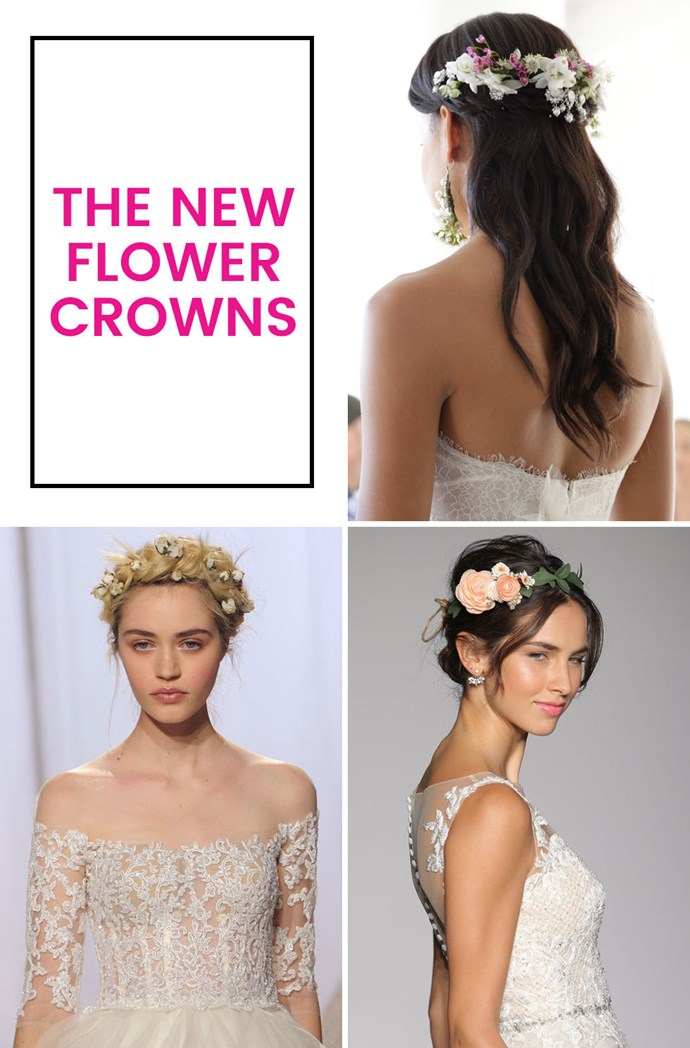 You're probably sick of them — lord knows you've seen them enough. If you're still a romantic who wants flowers in her hair for her wedding, try something slightly more delicate than a full-on crown.