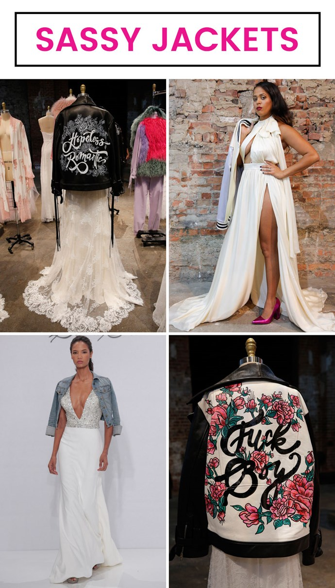 "**4. Jackets that give your white dress some edge. ** As seen at Houghton and Dennis Basso. Layering on a denim or leather jacket really does something to a wedding dress — especially if that jacket says ""Fuck boy"" on it."
