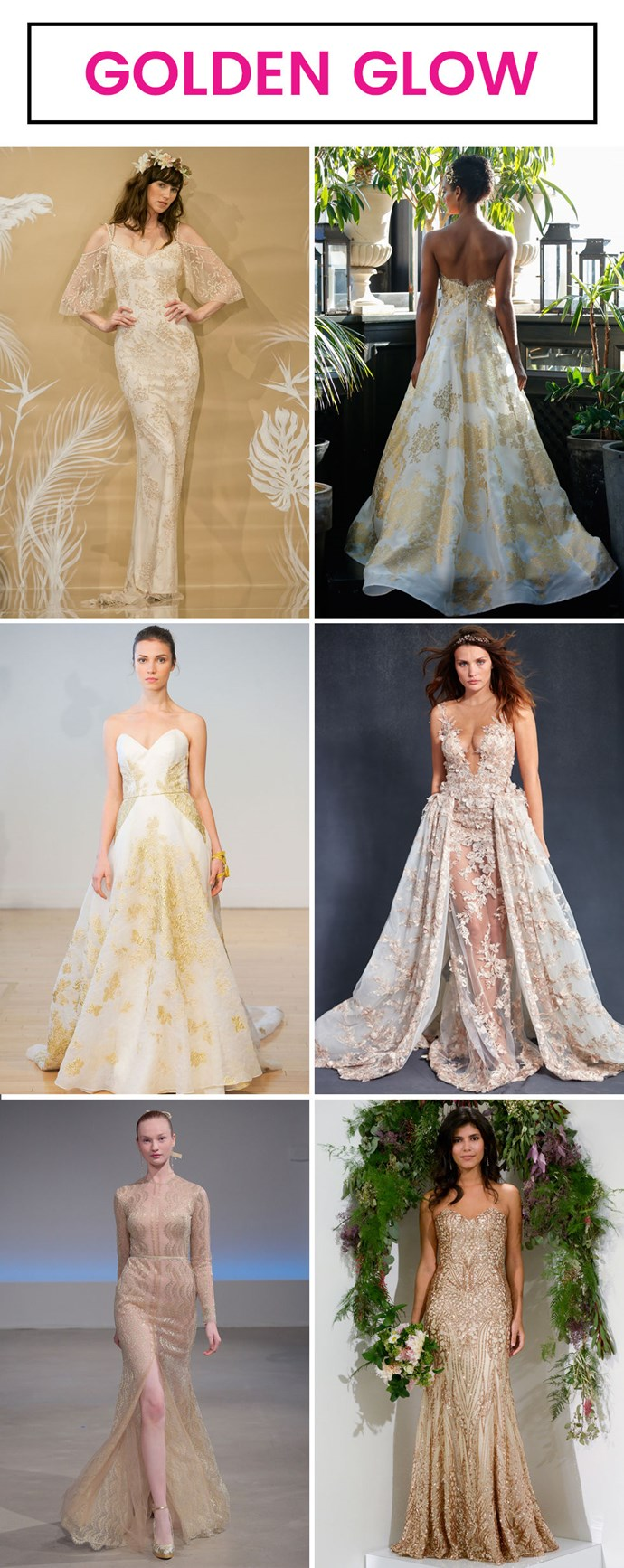 **8. Gilded tones.** As seen at Theia, Francesco Miranda, Carol Hannah, Galia Lahav, and Watters. For those who like their weddings like they like life: Ornate and divine.