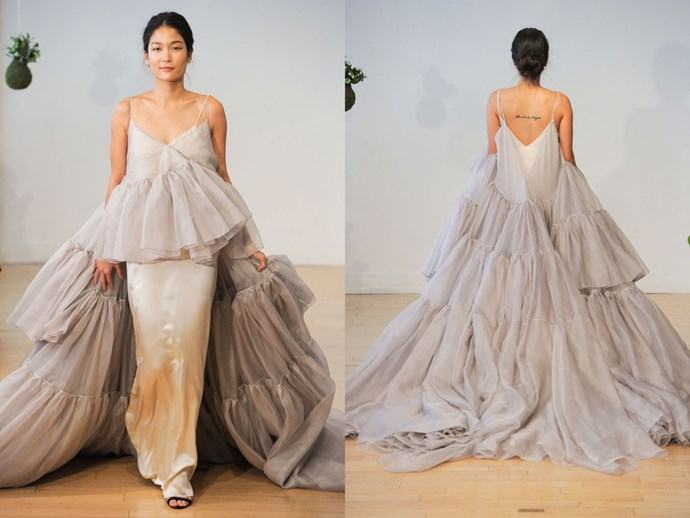 **10. This drama.**  As seen at Carol Hannah. There's a quietly beautiful bias cut slip underneath that would function as a completely chic dress on its own, but the frothy grey cake topper of a dress that goes with it is just so fun. Imagine all the twirling you could do!