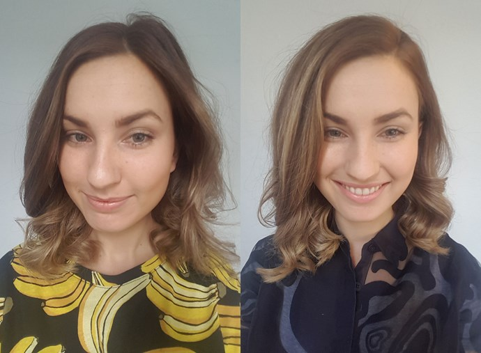 The woman on the left (me) is wearing ALDI makeup, while the woman on the right (also me) is wearing her regular makeup.