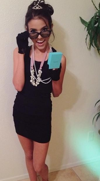 """**13. Breakfast at Tiffany's** Bring out your oversized pearl necklaces, shades, LBD and tie your hair up in a high bun and you're Holly Golightly. If you're got a Tiffany's box, gloves and a tiara lying around then great but don't worry if not - people will get it anyway. Via [Pinterest](https://au.pinterest.com/pin/136445063688022583/ target=""""_blank"""")"""