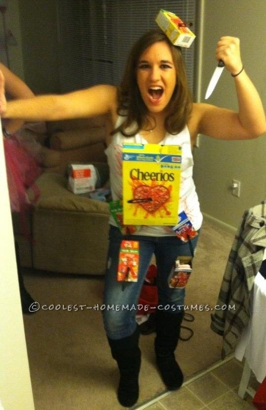 """**2. Cereal Killer** If you still CBF to wear anything moderately uncomfortable, this one's for you. Stab a few old cereal boxes with a plastic knife and stick them to your singlet top and you're good to go. Oh, and defo leave any real blades at home - plastic is more than enough. Via [Pinterest](https://au.pinterest.com/pin/224968943859767026/ target=""""_blank"""")"""