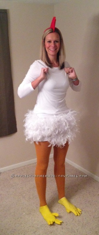"""**14. Funky Chicken** White feathers, a red headband and a pair of yellow rubber gloves never looked so good. PLUS, you can do the funky chicken dance all night and no one can tell you otherwise. Via [Pinterest](https://au.pinterest.com/pin/300544975116997413/ target=""""_blank"""")"""