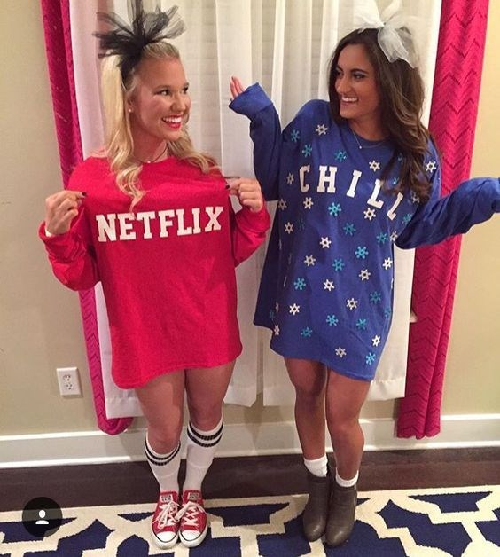 """**12. Netflix N' Chill** There's no single way to do this costume, but we're liking how low-key this example is. Wear a slouchy oversized pj top and stick the related letters on the front. Nuf said. Only thing is you're probs gonna need your bestie for this one. Via [Pinterest](https://au.pinterest.com/pin/306878162092248125/ target=""""_blank"""")"""