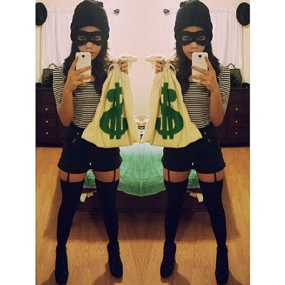 """**9. Robber** Black beanie, striped top and a disposable bag with a dollar sign drawn on it. If you don't have a mask, simply use some dark eyeshadow for the same effect. Via [Pinterest](https://au.pinterest.com/pin/482800022532151142/ target=""""blank"""")"""