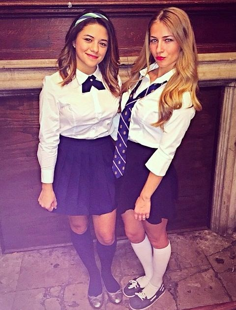 """**1. Blair Waldorf and Serena van der Woodsen** Get your bestie on board and be the coolest gal pals in history. All you need is a white shirt, bae's tie, dark skirt and knee-high socks. Oh and if you're Blair, the headband is a must. via [Pinterest](https://au.pinterest.com/pin/504684701971104932/ target=""""_blank"""")"""