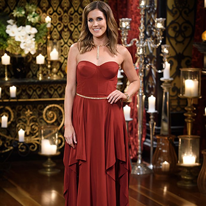 **Things started to get heated when Georgia showed up in this strapless, ox-blood gown.**