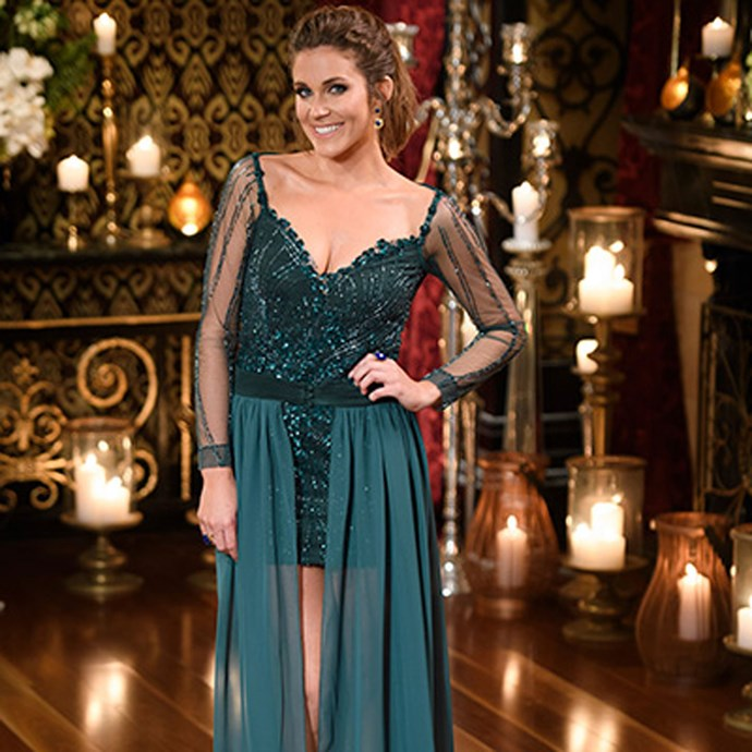 **But then we met the little emerald dress that could: the fitted sequin mini that really just wanted to be a floor-length dress.**