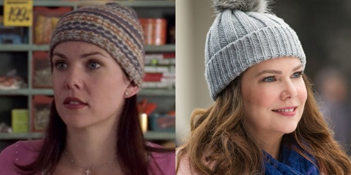 "**Lorelai (Lauren Graham)** Beanie. Coffee. Gorgeous hair. Some things never change. Lauren's post-*Gilmore* career has included *Parenthood* and a *[New York Times](http://www.nytimes.com/books/best-sellers/2013/05/19/hardcover-fiction/?_r=0|target_""blank"")* best seller, NBD."