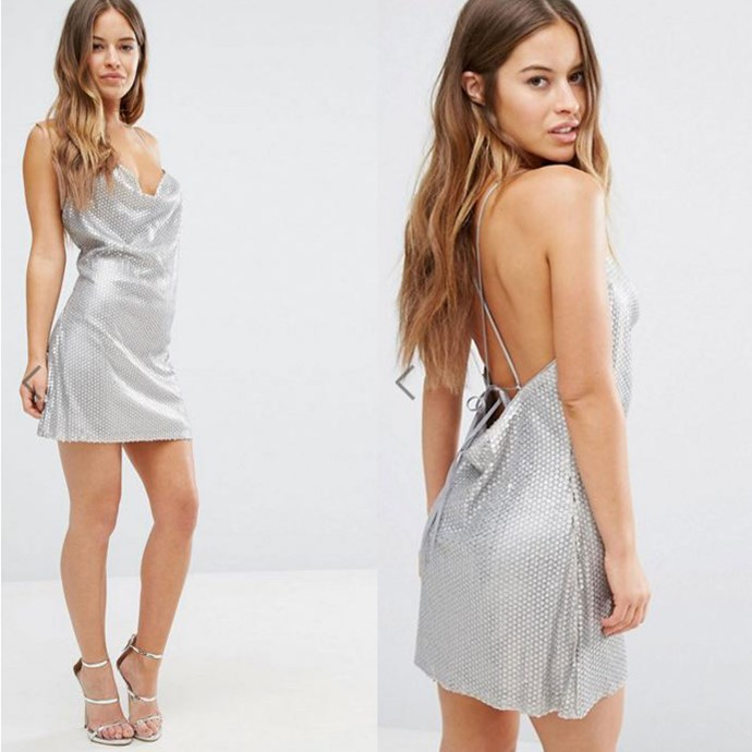 "Boohoo Petite Sequin Cami Dress, ASOS, [$59](http://rstyle.me/n/b49qavvs36 target=""_blank"")."