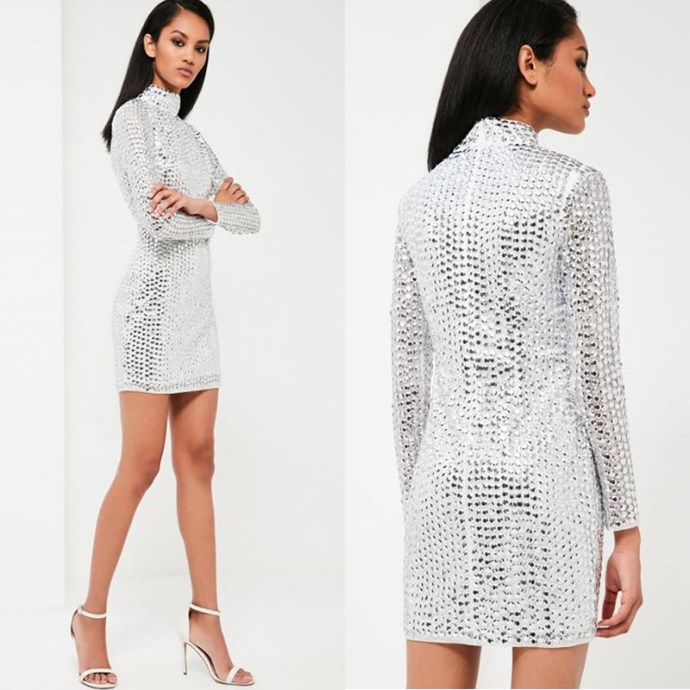 """Peace + Love Silver Embellished high neck dress, Missguided, [$315.00](http://rstyle.me/n/b49pyzvs36 target=""""_blank"""")."""