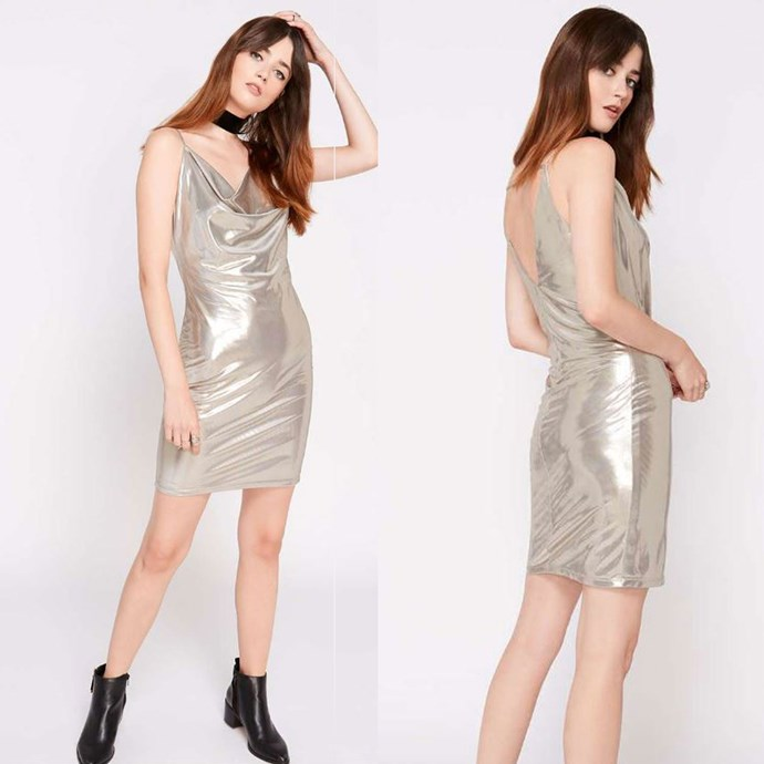 """Silver Lame Cowl Neck Dress, Miss Selfridge, [$42](http://rstyle.me/n/b5abvevs36 target=""""_blank""""). This is the one Ken recommended."""