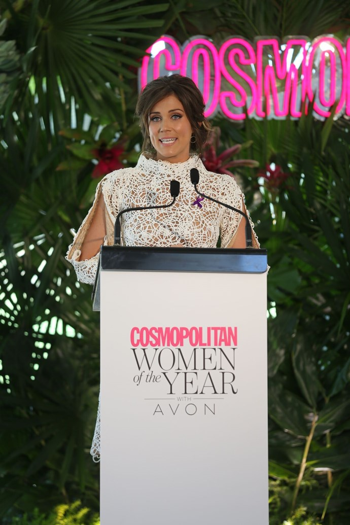 """The Bachelorette's Georgia Love took to the stage today at the *Cosmopolitan* Women of the Year awards. She spoke spoke about her mother, who recently passed away from pancreatic cancer. """"It's especially poignant for me to be here today,"""" she said. """"Less than two weeks ago I lost the most important woman in my life."""""""