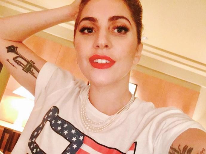 Lady Gaga protests Donald Trump