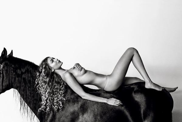 """Gigi Hadid rode a horse bare back (and butt) for her latest [*Allure*](http://www.allure.com/story/gigi-hadid-allure-december-2016-nude-cover-interview