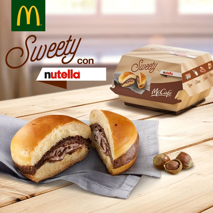 **Italy - *Sweety with Nutella burger*:** Yes, that is a [Nutella Burger](http://www.cosmopolitan.com.au/celebrity/mcdonalds-nutella-burger-19036), aka a glorious new way to eat your feelings.