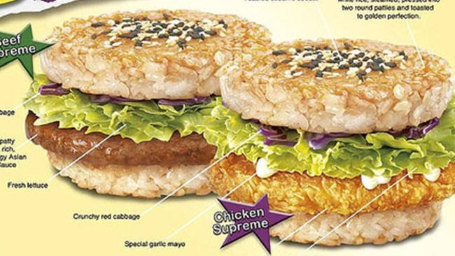 **Taiwan - *McRice Burger*:** Literally a patty between two buns made of rice.