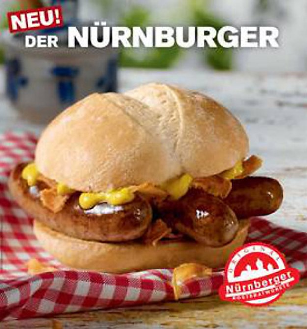 **Germany - *McNürnburger*:** Three Bratwursts served on bun with mustard and onions and a dash of HELL YEAH!