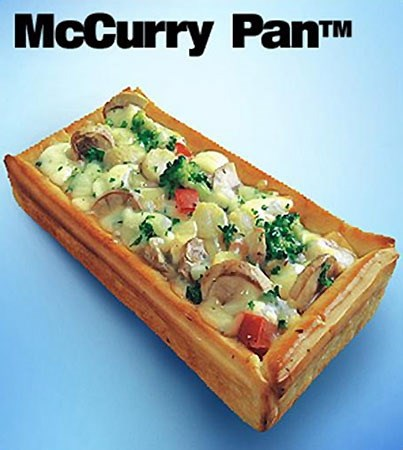 **India - *McCurry Pan*:** Curried vegetables baked in cream sauce inside a crispy 'pan' made from bread. In other words, mmMMmMMmMMM.