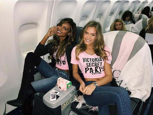 Fantasy bra-wearer Jasmine Tookes and gal pal Josephine Skriver are flight buddies.